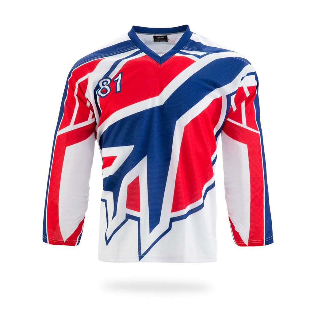 JETS Design White Ice Hockey Jersey-Vimost Sports