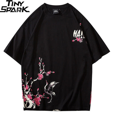 Japanese Sakura T Shirt Hip Hop Streetwear Men Harajuku Crane Tshirt Short Sleeve Summer Fashion Casual T-Shirt Cotton New