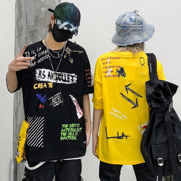 Men Hip Hop Graffiti T Shirt Harajuku Streetwear Tshirt Summer Short Sleeve Fashion Cotton Tops Tees New Skateboard T-Shirt
