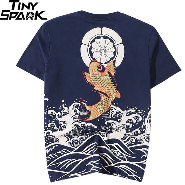 Men T Shirt Streetwear Japanese Harajuku Tshirt Koi Fish Wave Print Hip Hop T-Shirt Short Sleeve Summer Cotton Tops Tees