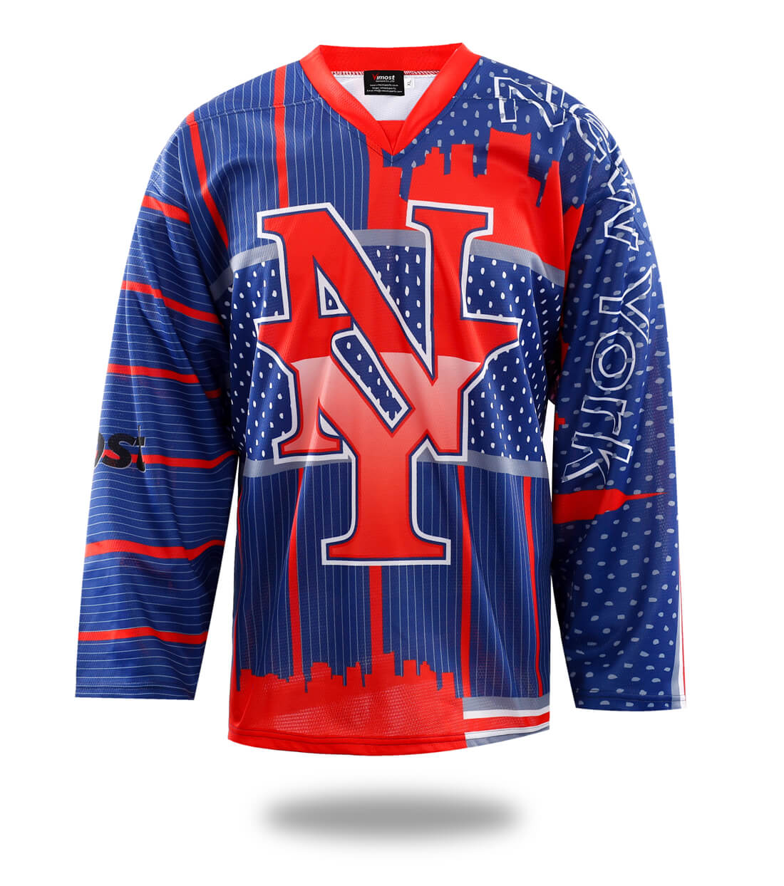 Red New York Design Hockey Jersey-Vimost Sports