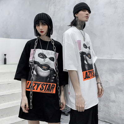 Oversize Hip Hop T Shirt Men Streetwear Harajuku Masked Man Print Tshirt Short Sleeve Cotton Casual T-Shirt Black Plus Size