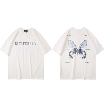 Oversize T Shirt Hip Hop Men Streetwear Tshirt Butterfly Print Harajuku Summer Short Sleeve T-Shirt Cotton Tops Tees Loose