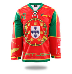 Sublimated Red Portugal Design Ice Hockey Jersey