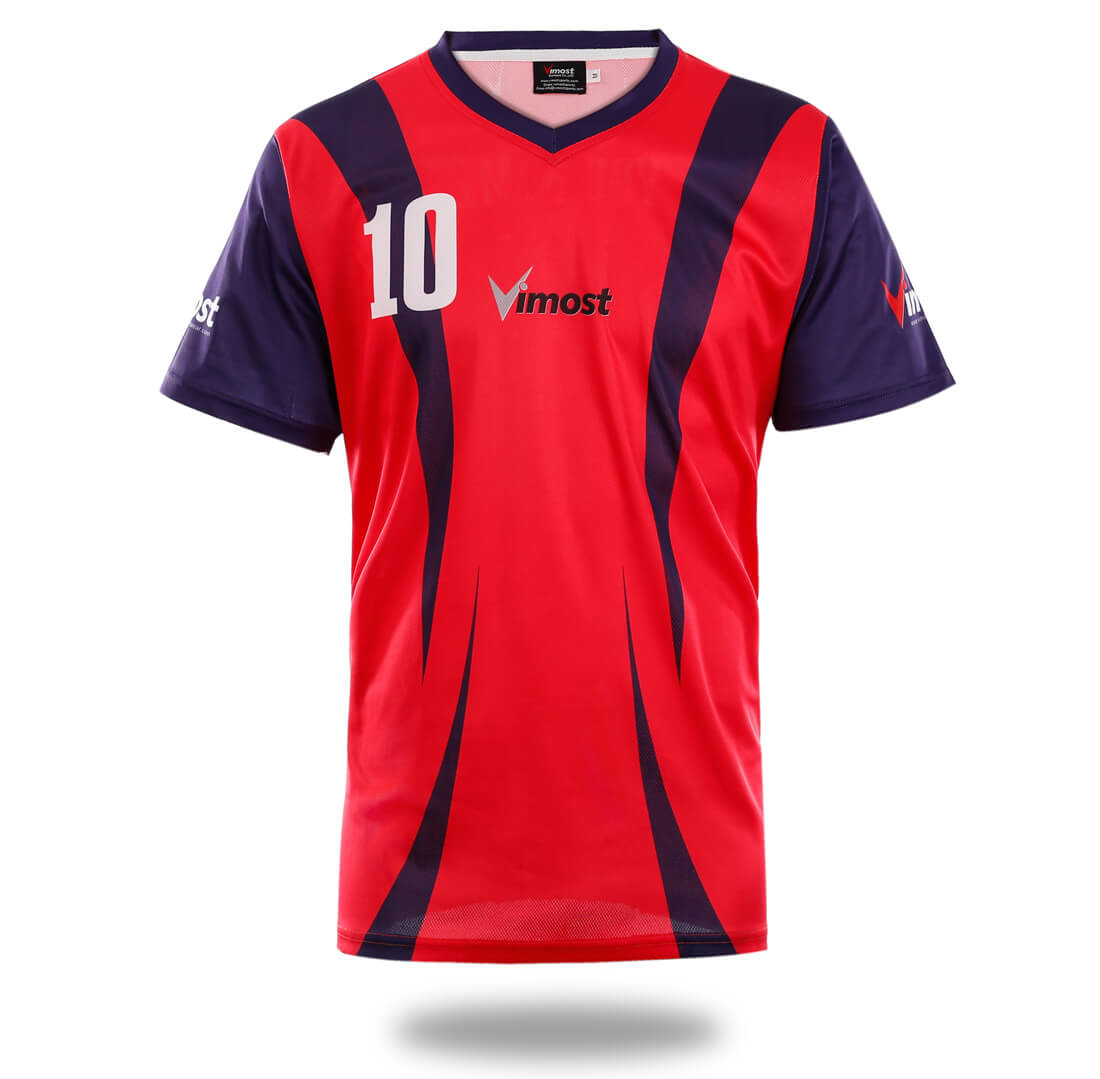 Simple Red Design Soccer Jersey Vimost Sports