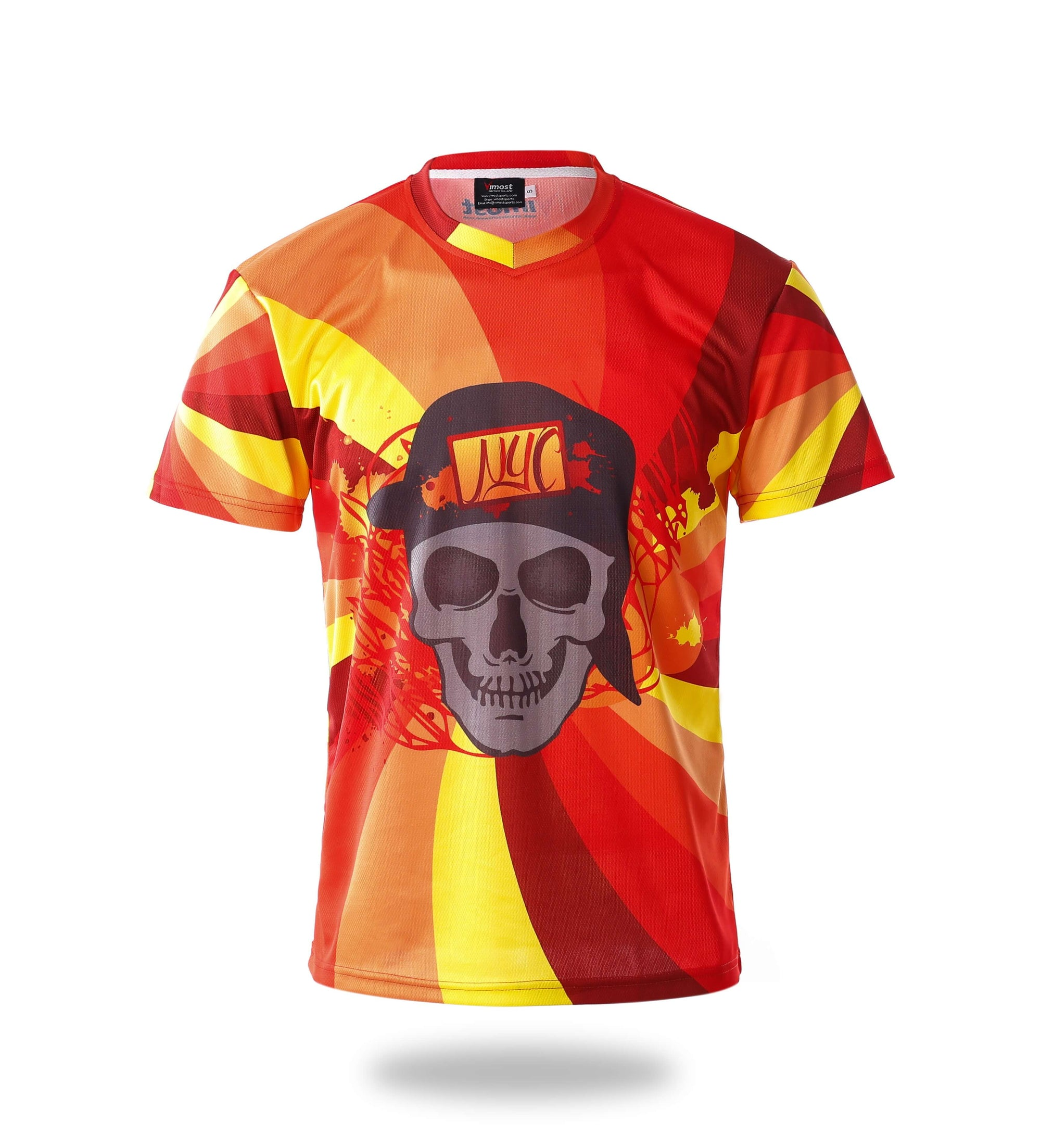 Sublimated Red Design Skull Gaming Jersey-Vimost Sports