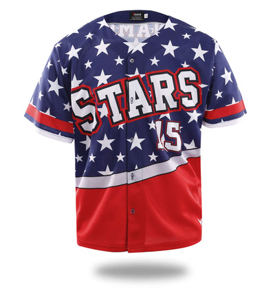 Stars Blue Red Design Baseball Jersey-Vimost Sports