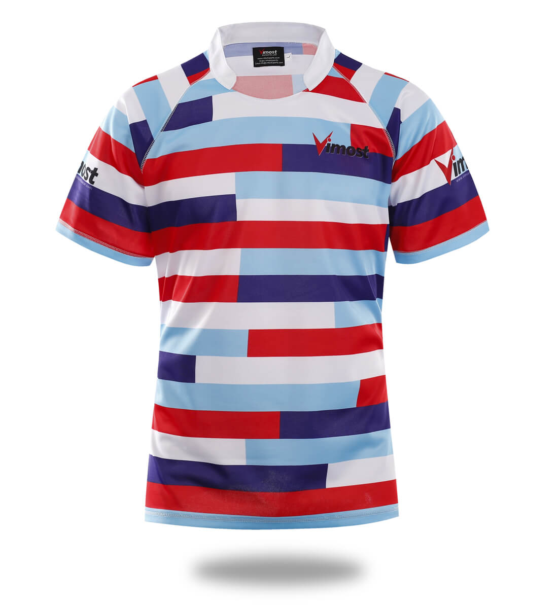 e58b0bff92 Sublimated Three Color stripes Design rugby Jersey - Vimost Sports