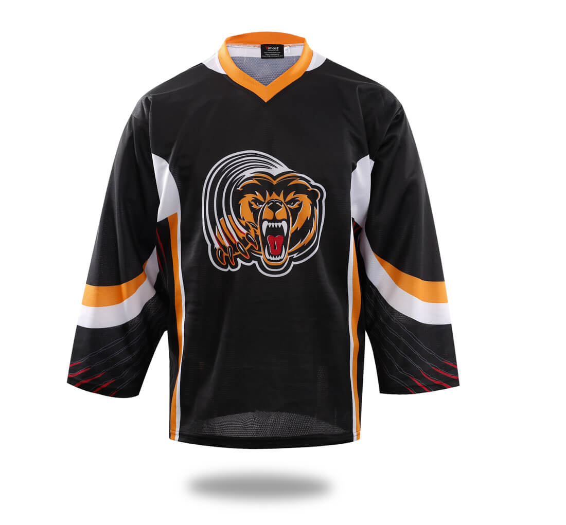 Sublimated Tiger Head Hockey Jersey Black