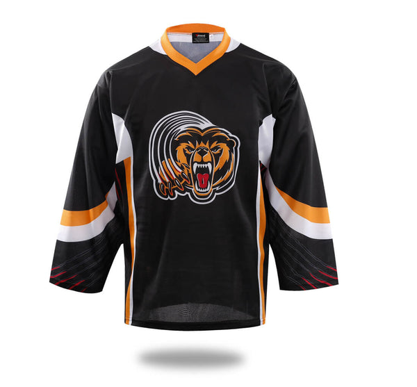 Sublimated Tiger Head Hockey Jersey Black-Vimost Sports