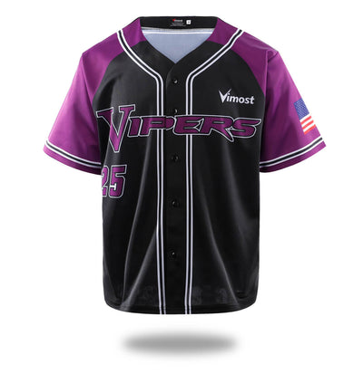 Vipers Black Purple Design Baseball Shirts-Vimost Sports