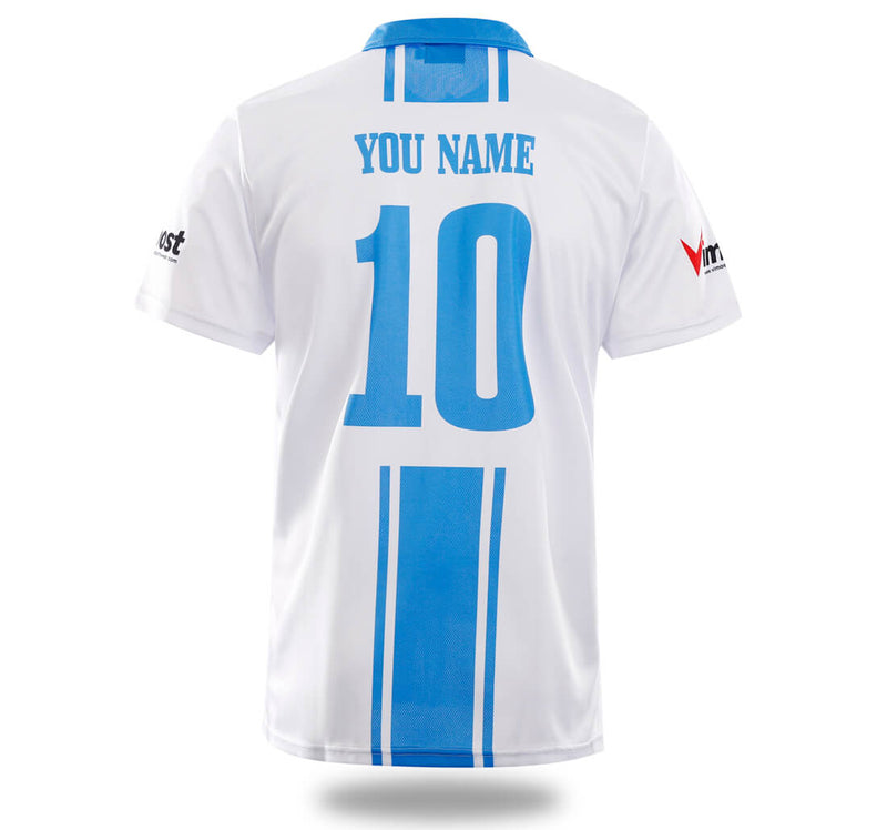 White Blue Design Soccer Jersey