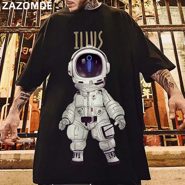 Men Cartoon Print Tees Summer Tshirts Mens Harajuku T Shirts Male hip hop tshirt Oversized Blakc Korean Clothes 5XL