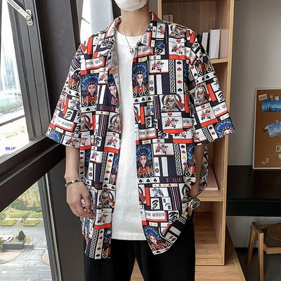 New Graffiti Pattern Mens Shirt Tops Playing Cards Printed Male Blouse Casual Half Sleeve Summer Floral Shirts