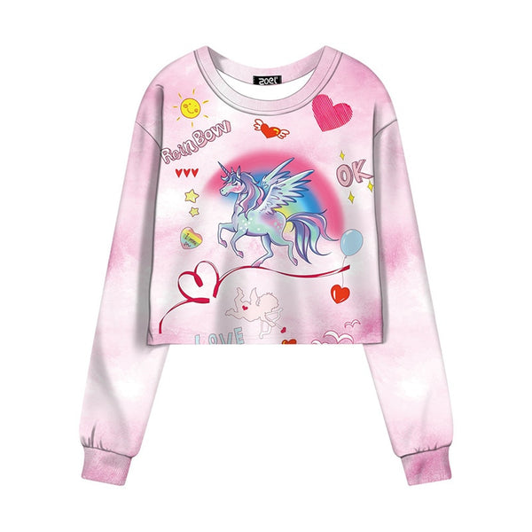 Women Girl Cute Unicorn Printed  Sweatshirt Long Sleeve