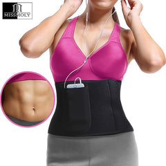 Premium Neoprene Waist Trimmer Belt Sweat Slimming Body Shaper Girdle Wrap Stomach Fat Burner with Phone Bag for Men & Women