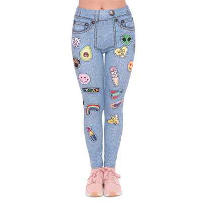 Fashion leggins mujer Light Blue Jeans With Patches Printing
