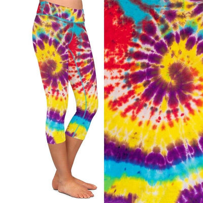 Women Stretch Pants Colorful Tie-dye Print High Waist 220gsm Double Side Brushed
