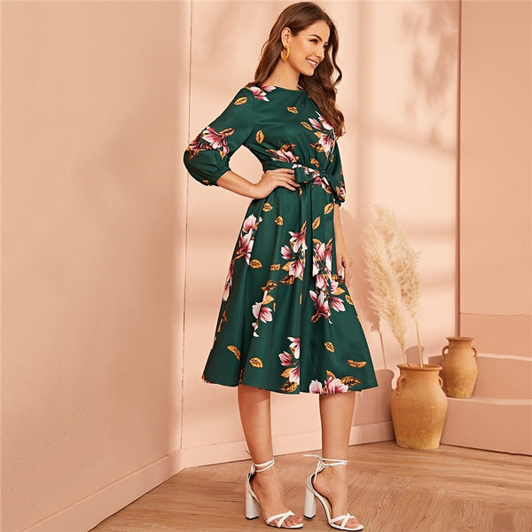 Green Abaya Elastic Waist Belted Floral High Waist Dress Women Spring Autumn Bishop Sleeve Flared Elegant Long Dresses