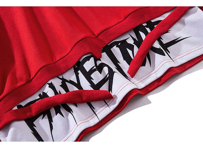 Men Fake 2 Pieces Ribbons High Street Pullover Sweatshirt Fashion Hip Hop Streetwear Hoodie