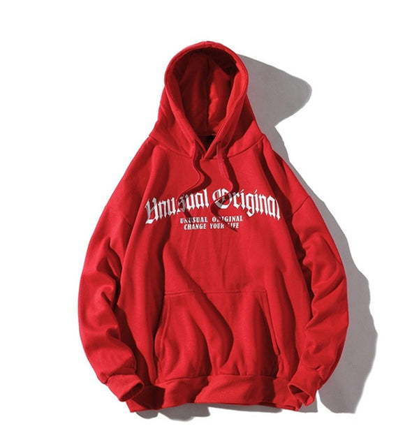 Men Letter Printed Hooded Pullover Sweatshirt Men High Street Fashion Hip Hop Hoodie Streetwear Clothing