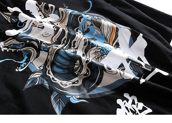 Hip Hop T Women Men Snake Chinese Charaters T-Shirts Harajuku  Style