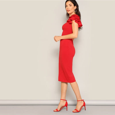 Red Layered Ruffle Sleeve Crisscross Back Bodycon Dress Women Summer Elegant Sleeveless Solid Slim Midi Party Dress