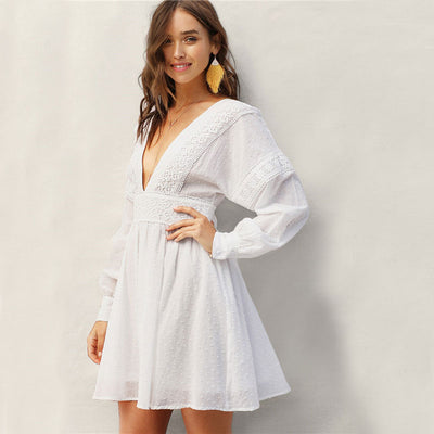 Lady Sexy Guipure Lace Dot Jacquard Knot Backless Deep V Neck Mini Dress Women Spring Boho Fit and Flare Midi Dress