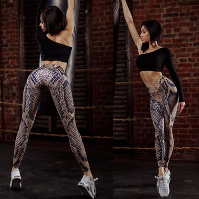Female Snakeskin pattern Polyester Elastic Force Leggings New Style Women Workout Push Up Fashion Sexy Skinny Leggings