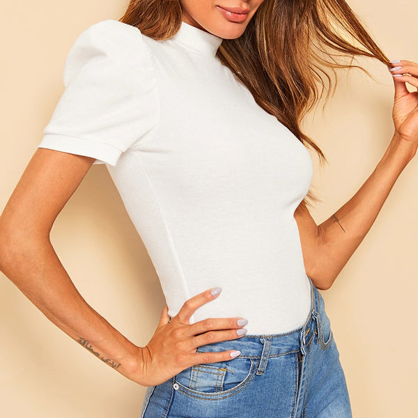 Lady White Mock-neck Puff Sleeve Solid Top Short Puff Sleeve Elegant Tshirt Ladies Tops