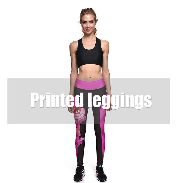 Halloween Women Leggings High Waist Silm Fitness Leggins Alice In Wonderland Smile Cat Digital Print Pants