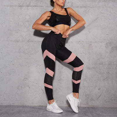 Women Pink Mesh Patchwork Sport Yoga Pants Gym