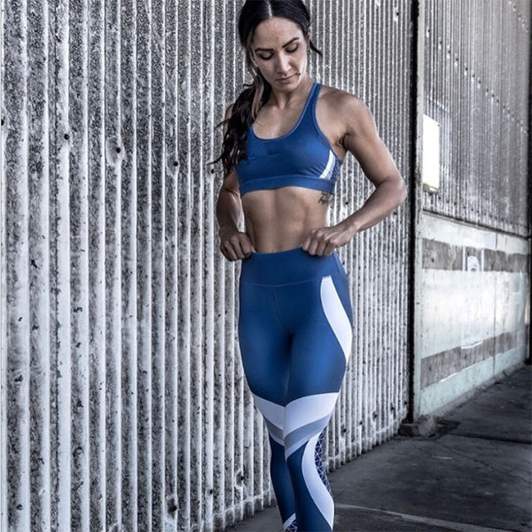 Women Casual Blue Leggings Skinny Elastic Force Sporting Fashion Polyester Fitness Leggings