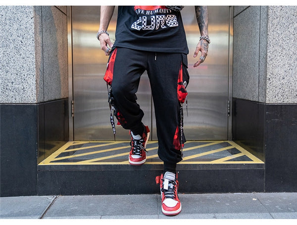 Men Block Hit Color Pocket Track Pants Male Fashion Trousers Elastic Waist Hip Hop Joggers Sweatpants Streetwear