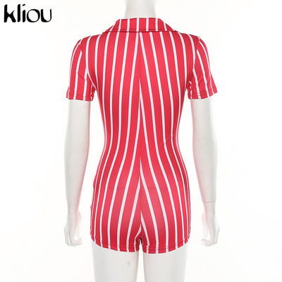 women sexy short playsuit red white striped short sleeve rompers