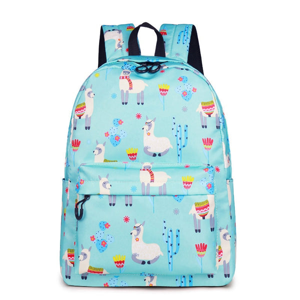 Animal  3D Print Cute Alpaca Flower School Backpack-Vimost Sports