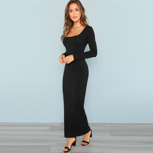Maxi Square Neck Fitted Maxi Dress Bodycon Long Sleeve Stretchy Plain Dresses Women Autumn Tshirt Slim Elegant Dress