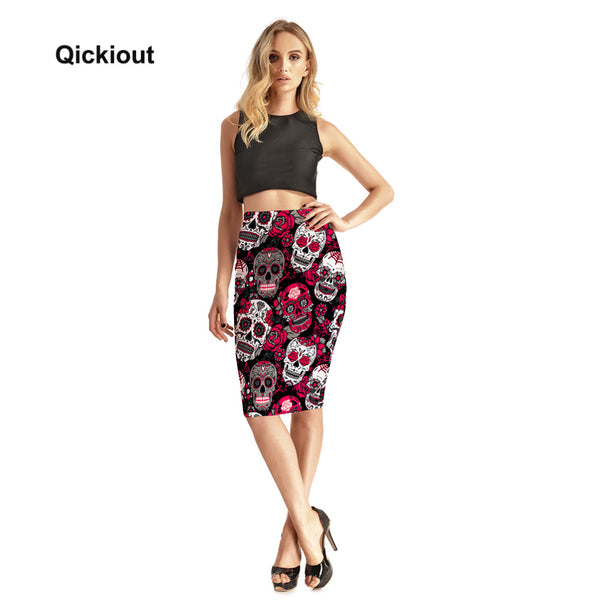 Fashion Rose Skull Evil Funny Women's Sexy 3D Skirts High Waist Package Hip Skirt Saia Midi Free Shipping