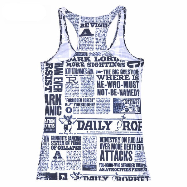 Qickitout Tops 2016 Summer Women Blouses Strapless Sleeveless Digital Print Casual News Newspapers Words Tank Tops Ladies' Vest
