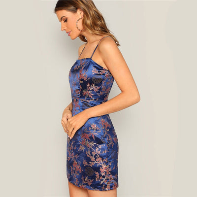 Navy Silky Floral Jacquard Spaghetti Strap Slim Fit Cami Dress Women Summer Sexy Night Out Bodycon Party Dresses