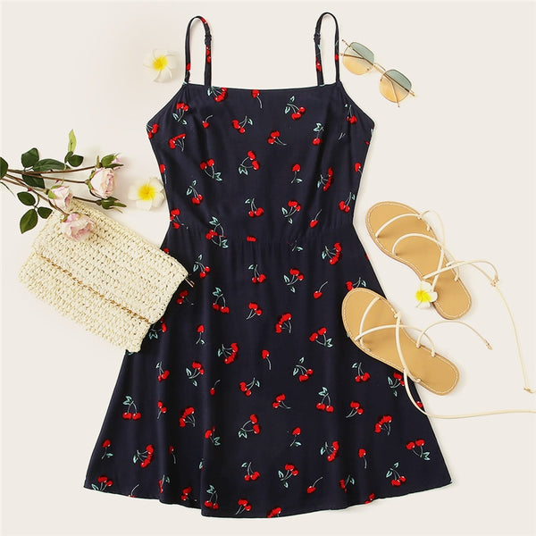 SHEIN Multicolor Weekend Casual Allover Cherry Print Natural Waist Short Spaghetti Strap Cami Dress Summer Women Going Out Dress