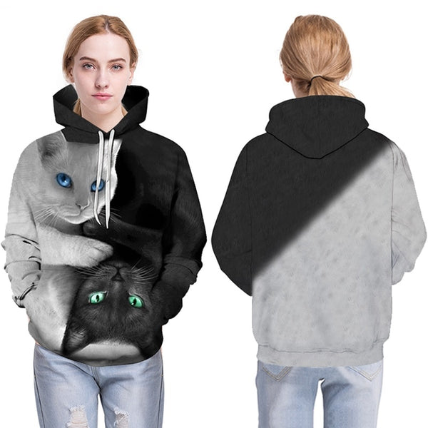 Men Hooded Sweatshirts two cat 3D Print hoody Casual Pullovers Streetwear Tops Autumn Regular Hipster hip hop