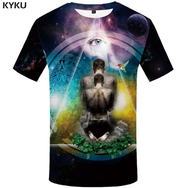 Men Harajuku T-shirts 3d America Tshirt Printed Feather Tshirts Casual Colorful Anime Clothes