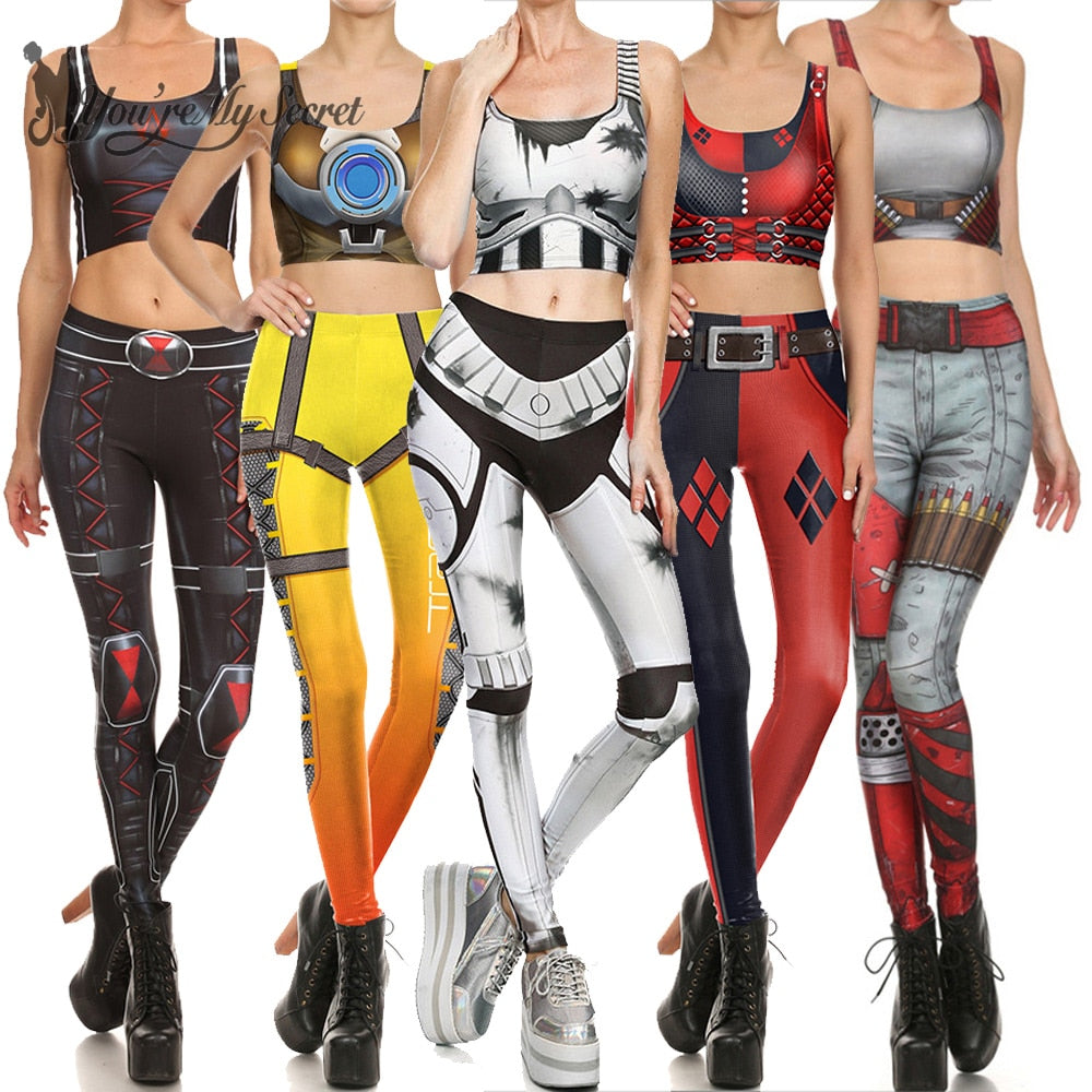 Star Wars Cosplay Costume For Women Wonder Captain America Deadpool Woman Croped Tops Leggings Sets