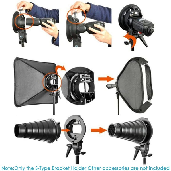 S-Type Bracket Holder with Bowens Mount for Speedlite Flash Snoot Softbox Beauty dish Reflector Umbrella