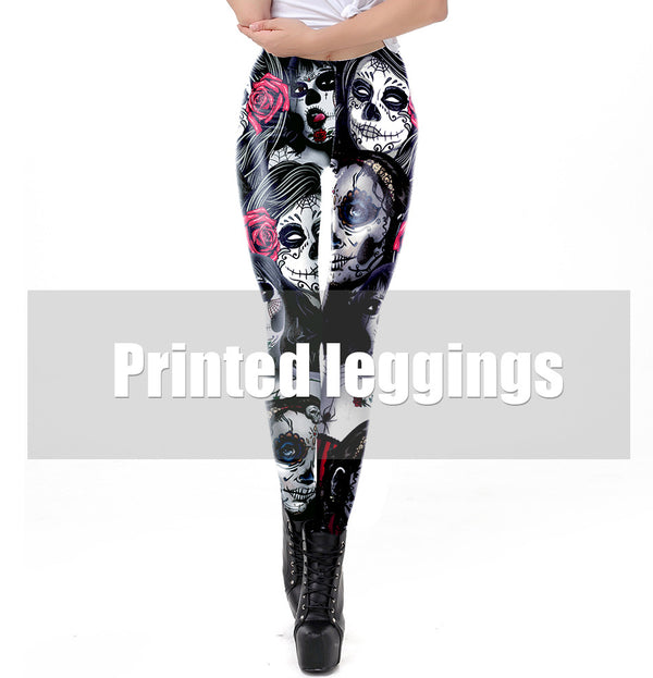 The Dead Girl Skull Horrible Scary Fitness Women's Black Printed Legging Female Ankle Pants