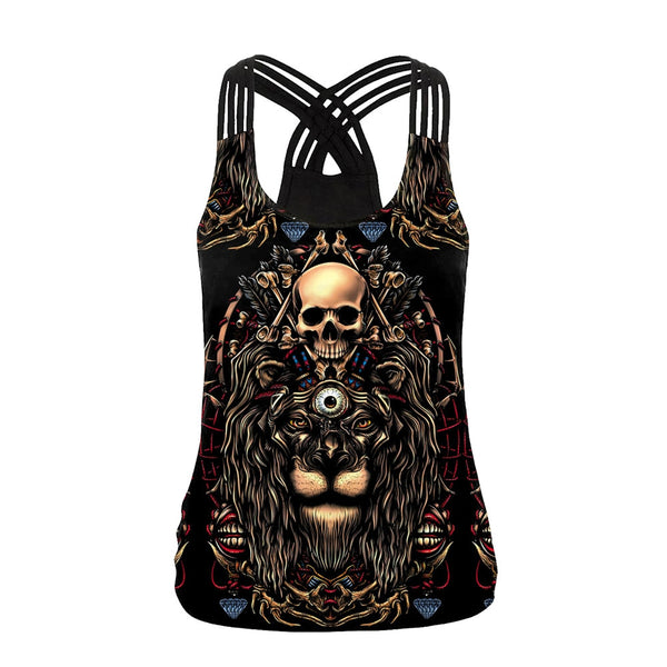 Skull New Design Punk Women Tank Tops Gothic Style Lion Sling Top Backless Streetware Vest Top Summer