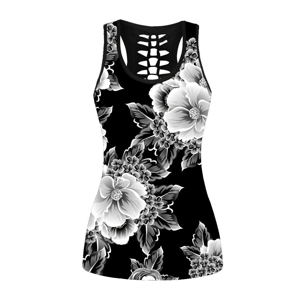 Ink Painting Women Sleeveless Tops White Flowers Tank Top Gothic Hollow Out Streetwear Vest Black