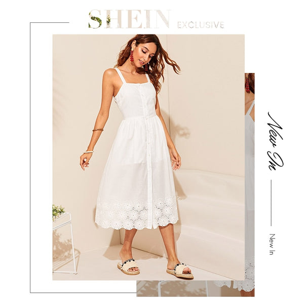 White Embroidered Eyelet Hem Button Up Summer Boho Dress Women Straps Empire Dress Solid Fit and Flare Long Cami Dresses