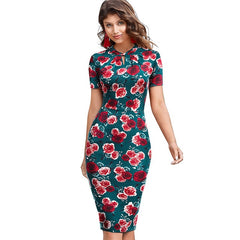 Nice-Forever Elegant Vintage Floral Printed vestidos Business Party Bodycon Pencil Women Summer Dress